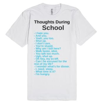 Thoughts During School-Unisex White T-Shirt