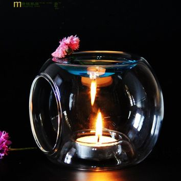 1PC New Glass Oil Incense Burner Candle Aromatherapy Oil Lamp Home Decorations Aroma Furnace Candle Holder