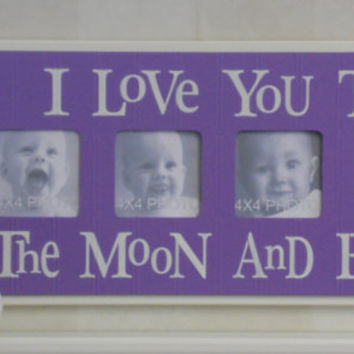 Purple Baby Girl Nursery - I Love you to the Moon and Back - Lilac Nursery Wall Art Baby Sign 4x4 Picture Frame