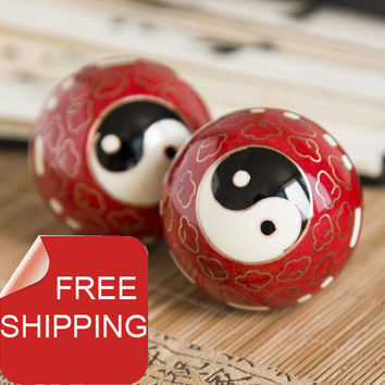 50mm40mm chinese baoding balls,cloisonne Taichi design in multi colors.Chiming fitness ball.Home gift.Paper box. shipping.