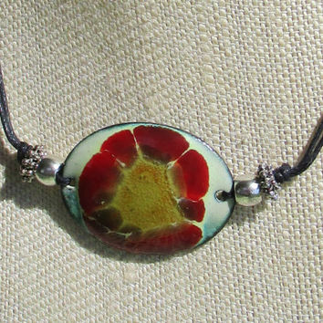 Spring Flower Enameled Pendant Necklace OOAK Artisan Enameled Pendant w Red and Yellow Flower Antiqued Silver Accents