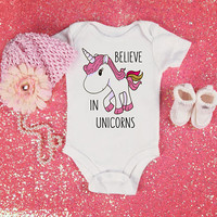 Believe in unicorns quote baby Onesuit for newborn, 6 months, 12 months, and 18 months funny graphic baby Onesuit