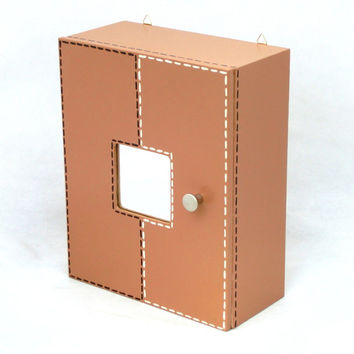 First aid kit / Medicine chest / Wooden box / Key box - Beige wall hanging wood box - 14 inch height