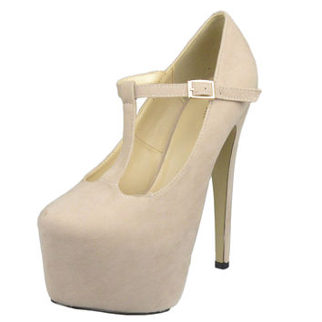 Womens Platform Shoes T-Strap Stiletto Pumps Closed Toe Shoes Nude SZ