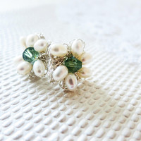 Pearl Bridal Stud Earrings Silver Wedding Daisy Crochet Sea Water Mint Crystal