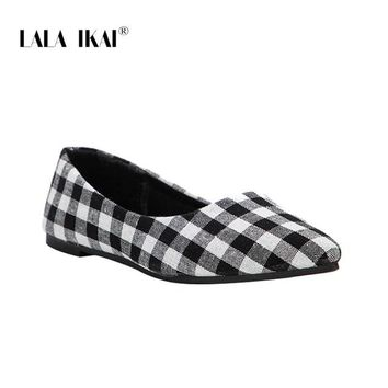 Women Flat Shoes Comfortable Slip On Summer Fashion Basic Gingham Shallow Women Pointed Toe Flats