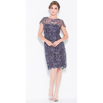 Short Vintage-Like Lace Dress Steel Cap Sleeves