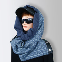Blue Men Women Unisex Wool Scarf Cozy Cowl with Snaps and Natural Leather by Elena Joliefleur