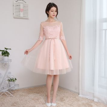 New fashion bridesmaid lace small dress pink dress