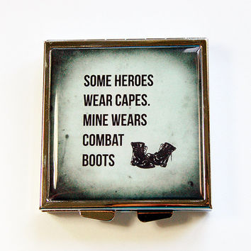 Pill case, Pill box, Square Pill box, Hero wears combat boots, military wife, war hero, combat boots, gift for military wife (4400)