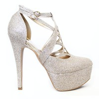 Champagne Metallic Close Toe Heels