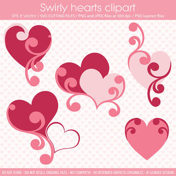 Swirly hearts cliparts, SVG cutting files, heart clipart template, heart die cut, Valentine SVG files, mothers day clipart, P231