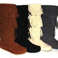 Women's Faux Suede Moccasin Fringe Mid Calf Boots in Black, Camel, Grey, Beige