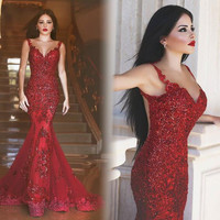 Red Lace Cocktail Dress ,2016 Long Mermaid Prom dress