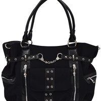 Banned Rise Up Handcuff Goth Punk Rock Black Tote Crossbody Bag Purse