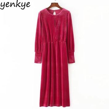 Women Velvet Dress Solid Color Casual Long Sleeve O Neck Autumn Winter Ladies Sexy Back Long Dresses Maxi