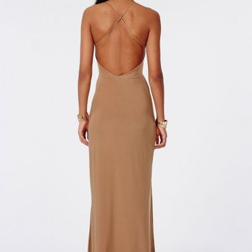 Missguided - Slinky Side Split Maxi Dress Taupe
