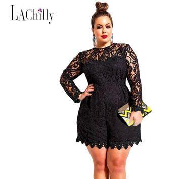 CREY78W 2017 New sexy Lace jumpsuit women Plus Size Long Sleeve Lace Romper LC60599 sexy jumpsuit macacao feminino coveralls
