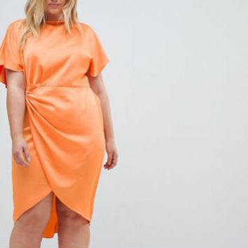 ASOS DESIGN Curve wrap skirt midi dress in satin at asos.com