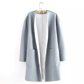 Solid Long Sleeve Windbreaker Trench Coat