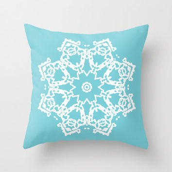 Snowflake Throw Pillow Cover - Blue Holiday Decorative Pillow - Home Decor - By Aldari Home