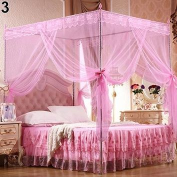 Princess Lace Canopy Mosquito Net Four Corner Post Bug Insect Repeller No Frame Full Queen King Size Bed Mosquito 180cm x 200cm