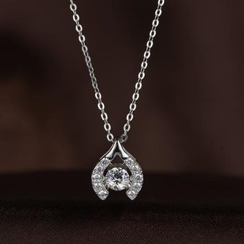 Beautiful Beak Shaped Swarovski Crystal Necklace