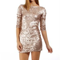 Rose Sequin Cocktail Dresses