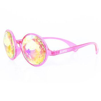 Transparent Pink Kaleidoscope Glasses - Rainbow