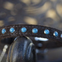 Leather Turquoise Rebel Dog Collar