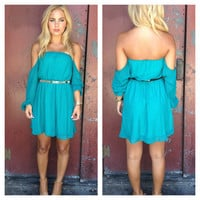 Teal Off Shoulder Chiffon Dress