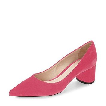YDN Women Suede Low Heel Pumps Classic Pointy Toe Slip on Formal Block Shoes