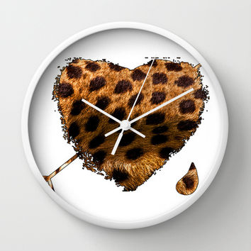 CHEETING HEART Wall Clock by catspaws