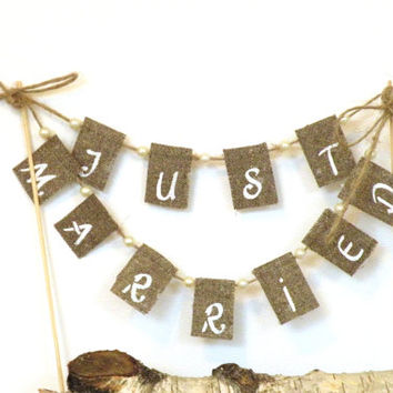Just Married Wedding Cake Topper Banner with pearls