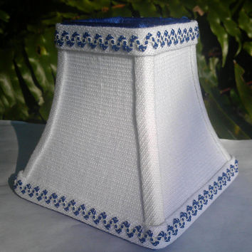 Chandelier Lampshade Bell Frame White Linen Cobalt Blue Grosgrain Ribbon and Mini Petite Royal Blue Ric Rac Trim Torpedo Clip