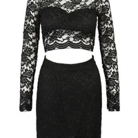 Black Sheer Lace Cut-Out Mini Dress