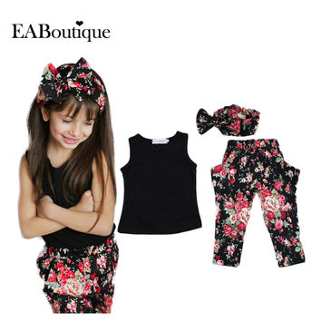 Summer New Arrival Girls Fashion outfits include vest harem pants headband 3 pieces sets retail clothing sets 1 set XTW
