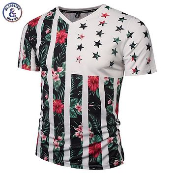 Mr.1991INC USA Flag Flowers T-shirt Men/Women Fashion Brand Tshirt Print Skulls Trees V-neck Summer T shirt Tops Tees
