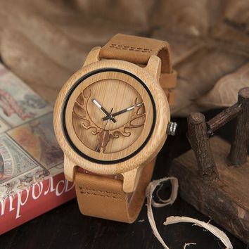 BOBO BIRD Skeleton Bamboo Watches for Men and Women With Deer Buck Head Design Wooden Quartz Watch relogio masculino C-A27