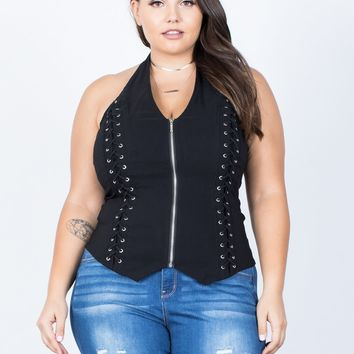 Plus Size Double Tied Party Top
