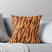 'Animal Print Pattern – Tiger 2' Throw Pillow by poisondesign