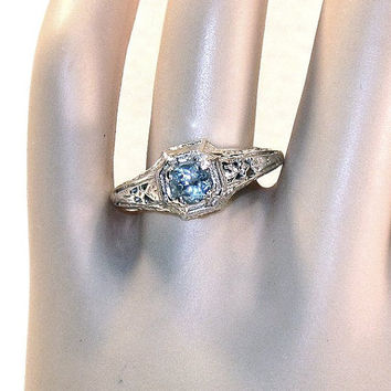 Sky Blue Topaz Antique Style Sterling Ring 8.5