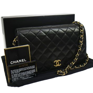 Authentic CHANEL Quilted Chain Shoulder Bag Black Leather VTG EXCELLENT AK16107A