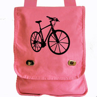 Bicycle Messenger Bag Pink Canvas Messenger Bike Field Bag