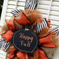 Fall Pumpkin Decor Fall Burlap Wreath Autumn Pumpkin Decor Small Fall Wreath Burlap Pumpkin Wreath Halloween Decor Chalkboard Fall Wreath