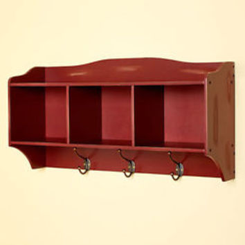 Brick Red Distressed Entryway Wall Storage Organizer With Coat Hat Hooks Home