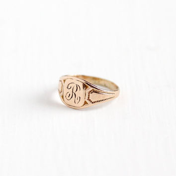 Vintage 10k Rosy Yellow Gold Letter R Signet Ring - 1920s Art Deco Size 1/2 Midi Petite Children's Fine OB Ostby Barton Initial Jewelry