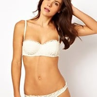 River Island Cream Crochet Bikini at asos.com