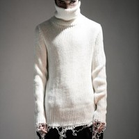 Unraveled Rib Knit Turtleneck Sweater RL8