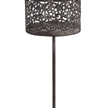 "Decorative Gray Metal Holiday Candle Holder - 6.5"" Tall"